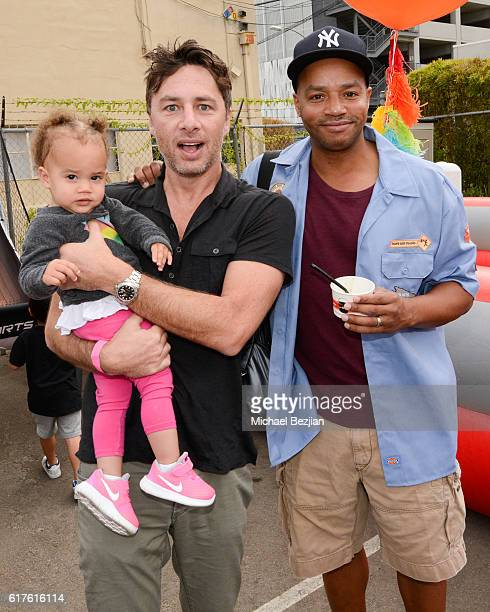 Actor Zach Braff and actor Donald Faison attend Elizabeth Glaser Pediatric Aids Foundation 'A Time For Heroes' Family Festival at Smashbox Studios on...