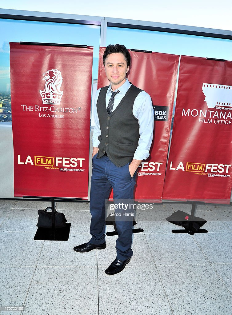 Actor <a gi-track='captionPersonalityLinkClicked' href=/galleries/search?phrase=Zach+Braff&family=editorial&specificpeople=203253 ng-click='$event.stopPropagation()'>Zach Braff</a> attends the Filmmaker Reception during the 2013 Los Angeles Film Festival at Ritz Carlton on June 16, 2013 in Los Angeles, California.