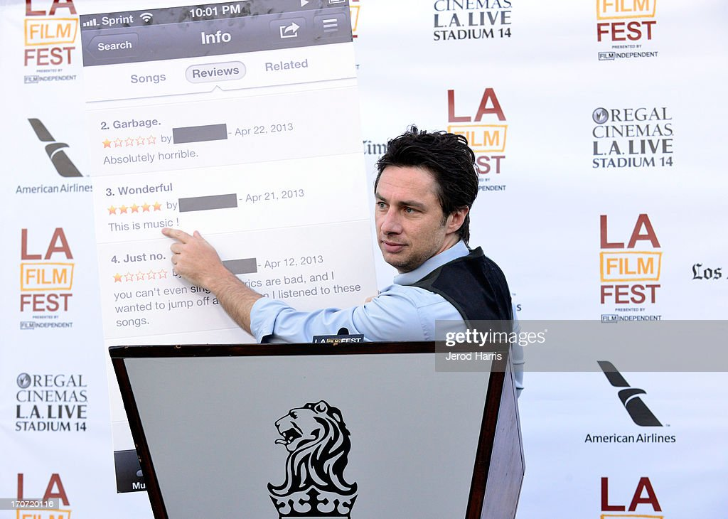 Actor <a gi-track='captionPersonalityLinkClicked' href=/galleries/search?phrase=Zach+Braff&family=editorial&specificpeople=203253 ng-click='$event.stopPropagation()'>Zach Braff</a> speaks at the Filmmaker Reception during the 2013 Los Angeles Film Festival at Ritz Carlton on June 16, 2013 in Los Angeles, California.