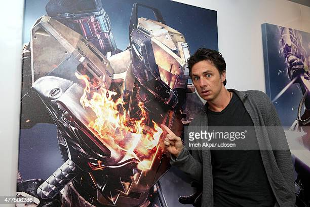 Actor Zach Braff visits the Destiny Booth during E3 2015 at Los Angeles Convention Center on June 17 2015 in Los Angeles California