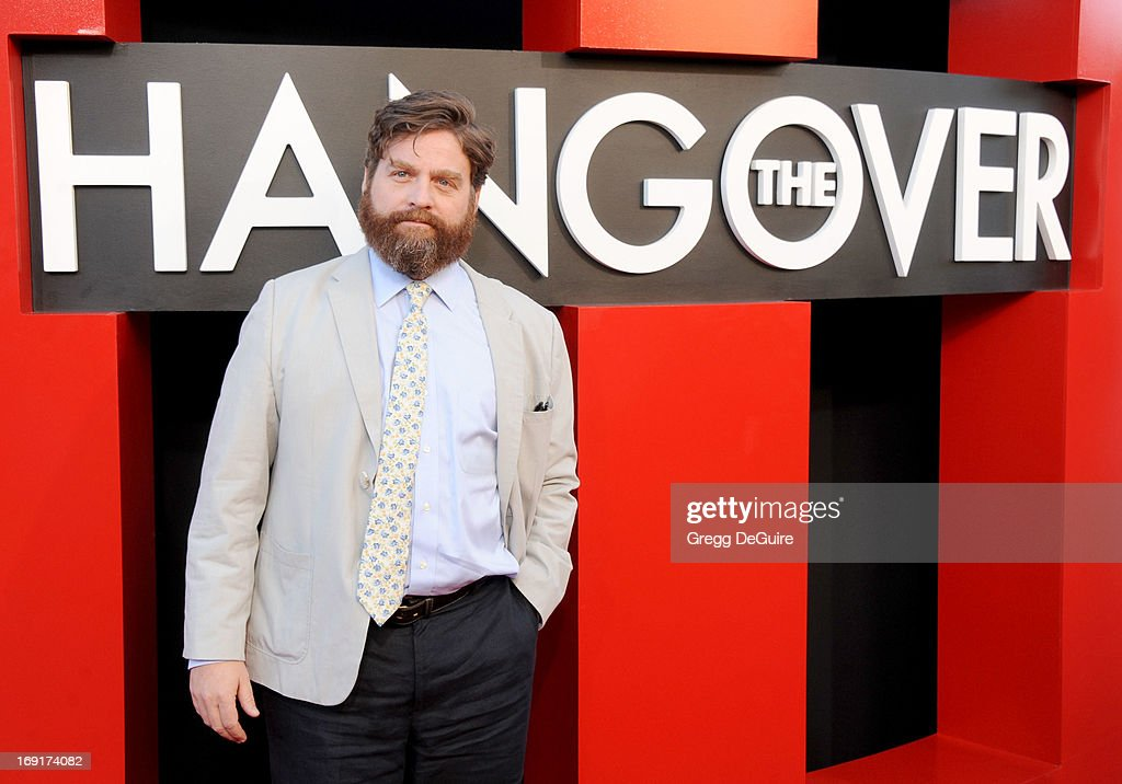 Actor <a gi-track='captionPersonalityLinkClicked' href=/galleries/search?phrase=Zach+Galifianakis&family=editorial&specificpeople=2154769 ng-click='$event.stopPropagation()'>Zach Galifianakis</a> arrives at the Los Angeles premiere of 'The Hangover III' at Mann's Village Theatre on May 20, 2013 in Westwood, California.