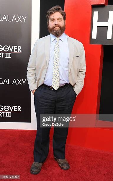 Actor Zach Galifianakis arrives at the Los Angeles premiere of 'The Hangover III' at Mann's Village Theatre on May 20 2013 in Westwood California