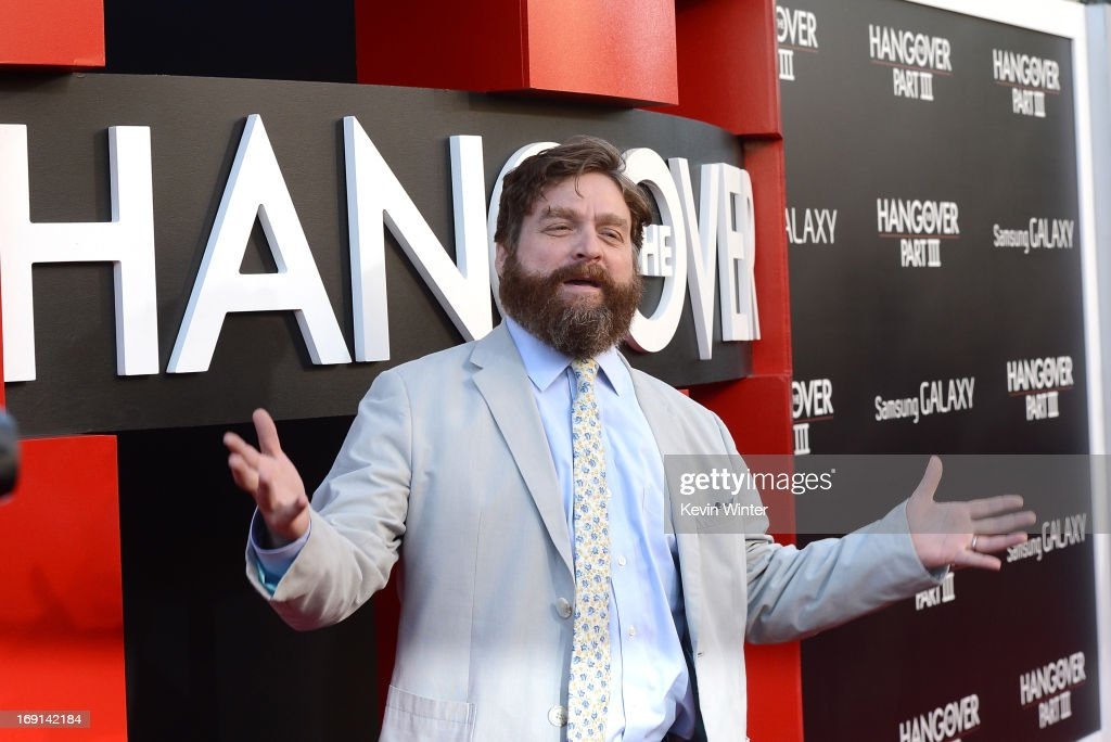 Actor <a gi-track='captionPersonalityLinkClicked' href=/galleries/search?phrase=Zach+Galifianakis&family=editorial&specificpeople=2154769 ng-click='$event.stopPropagation()'>Zach Galifianakis</a> arrives at the premiere of Warner Bros. Pictures' 'Hangover Part 3' on May 20, 2013 in Westwood, California.