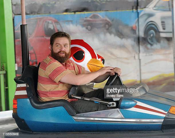 Actor Zach Galifianakis at the bumper cars filming a promo on location for 'Bored To Death' on June 7 2011 in the Brooklyn borough of New York City