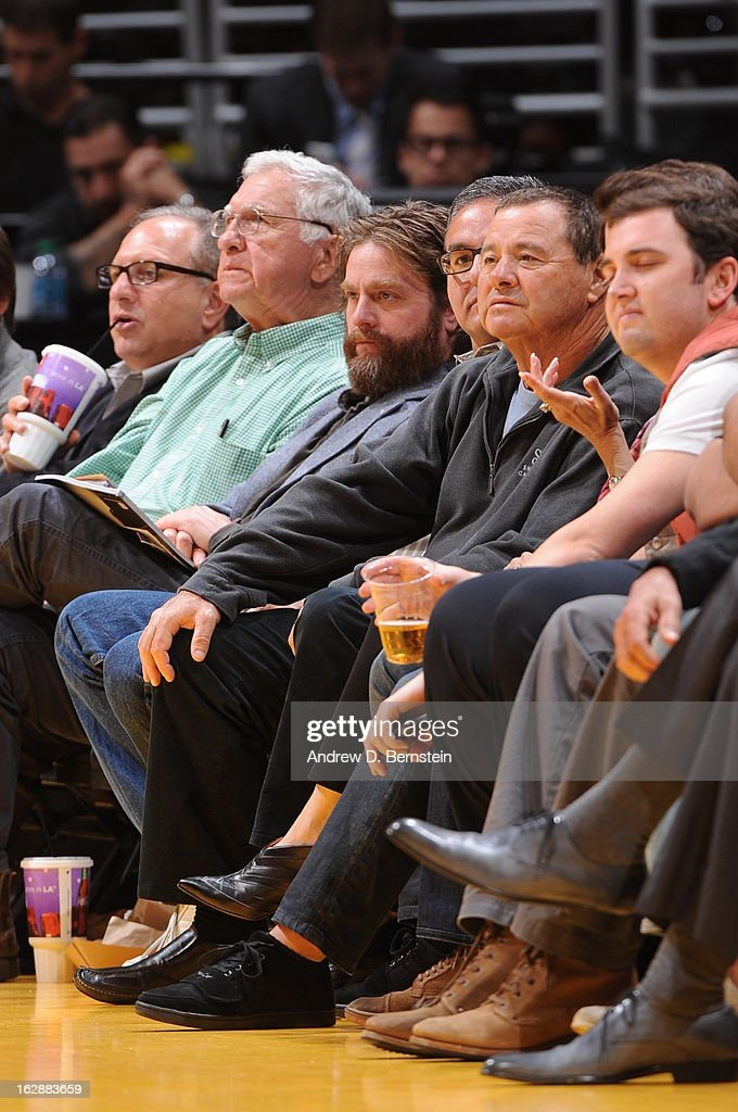 Actor Zach Galifianakis attends a game between the Minnesota Timberwolves and the Los Angeles Lakers at Staples Center on February 28, 2013 in Los Angeles, California.
