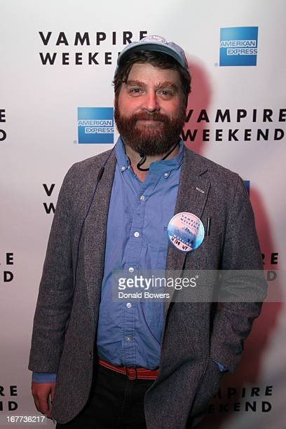 Actor Zach Galifianakis attends as Vampire Weekend performs for the 'American Express Unstaged' music series directed by Steve Buscemi live streamed...