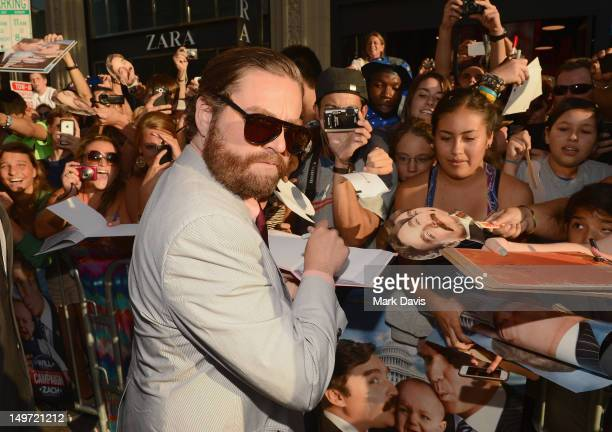 Actor Zach Galifianakis attends the Los Angeles Premiere of 'The Campaign' at Grauman's Chinese Theatre on August 2 2012 in Hollywood California