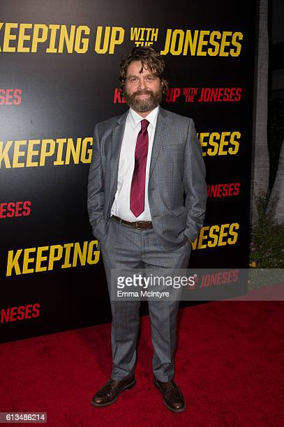 Actor Zach Galifianakis attends the premiere of 20th Century Fox's 'Keeping up with the Joneses' at Fox Studios on October 8 2016 in Los Angeles...