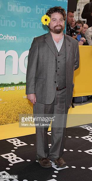 Actor Zach Galifianakis attends the premiere of the Larry Charles's film 'Bruno' at Publicis Champs Elysees on June 15 2009 in Paris France