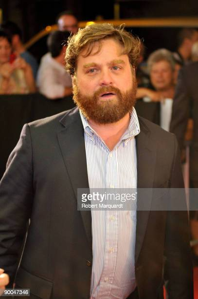 Actor Zach Galifianakis attends the Spanish premiere of 'The Hangover' at Aribau Cinema on August 11 2009 in Barcelona Spain