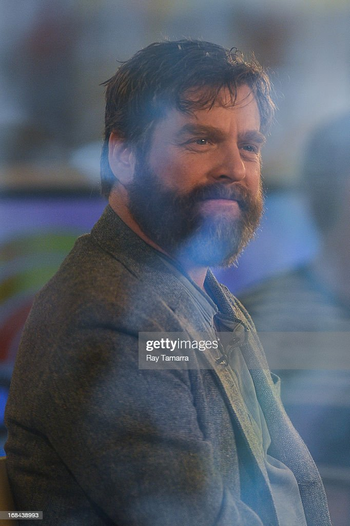 Actor <a gi-track='captionPersonalityLinkClicked' href=/galleries/search?phrase=Zach+Galifianakis&family=editorial&specificpeople=2154769 ng-click='$event.stopPropagation()'>Zach Galifianakis</a> tapes an interview at the 'Today Show' at the NBC Rockefeller Center Studios on May 9, 2013 in New York City.