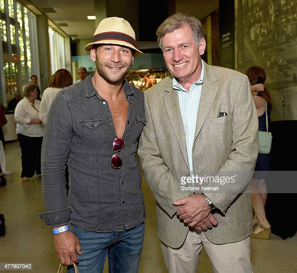 Actor Zach McGowan and director David Clark attend the Titans of the Ice Age Premiere at La Brea Tar Pits and Museum on June 20 2015 in Los Angeles...
