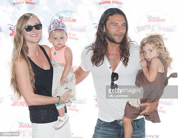 Actor Zach McGowan arrives with his family at Disney Junior's 'Pirate And Princess Power Of Doing Good' Tour Arrives In Los Angeles At Brookside Park...