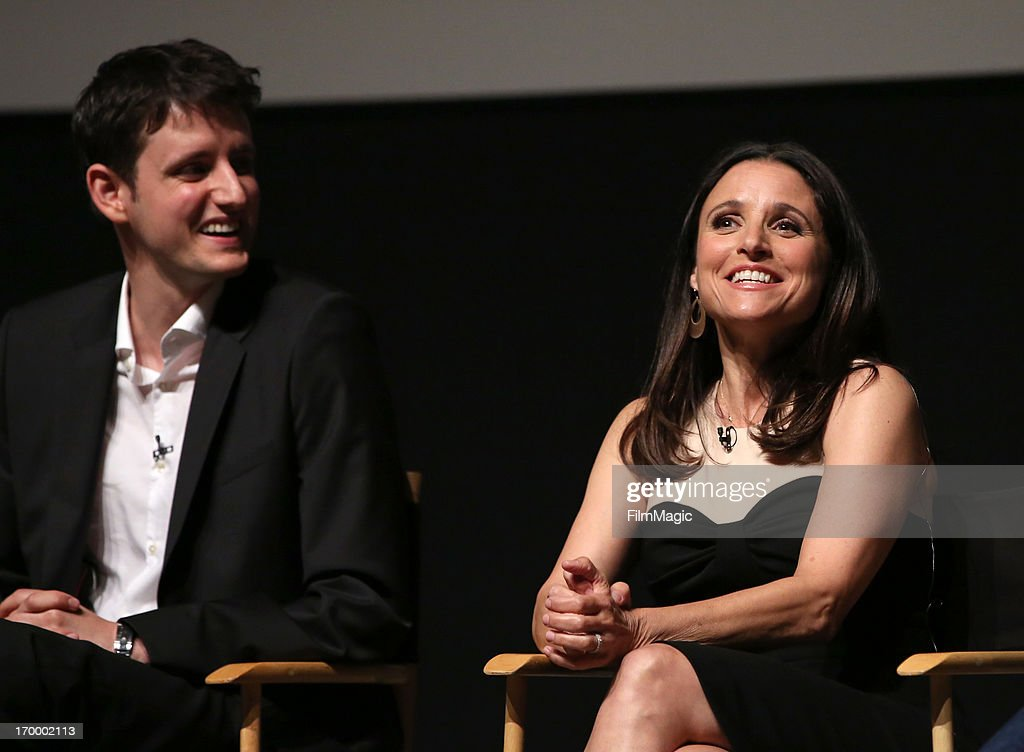 Actor Zach Woods and actress/producer <a gi-track='captionPersonalityLinkClicked' href=/galleries/search?phrase=Julia+Louis-Dreyfus&family=editorial&specificpeople=208965 ng-click='$event.stopPropagation()'>Julia Louis-Dreyfus</a> attend HBO's 'VEEP' screening and panel at the Leonard H. Goldenson Theatre at the Academy of Television Arts & Sciences on June 5, 2013 in North Hollywood, California.