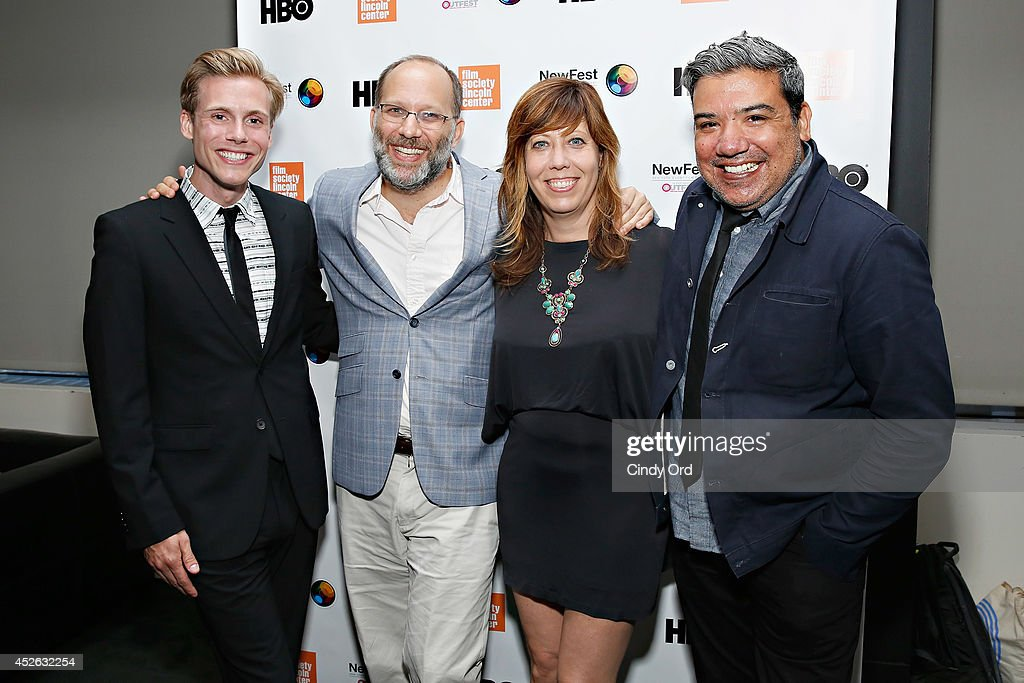 Actor <a gi-track='captionPersonalityLinkClicked' href=/galleries/search?phrase=Zachary+Booth&family=editorial&specificpeople=4839749 ng-click='$event.stopPropagation()'>Zachary Booth</a>, filmmaker <a gi-track='captionPersonalityLinkClicked' href=/galleries/search?phrase=Ira+Sachs&family=editorial&specificpeople=2260924 ng-click='$event.stopPropagation()'>Ira Sachs</a>, Outfest Executive Director Kirsten Schaffer and The Film Society of Lincoln Center Deputy Director Eugene Hernandez attend the 'Futuro Beach' Opening Night Screening - 2014 Newfest at The Film Society of Lincoln Center, Walter Reade Theatre on July 24, 2014 in New York City.