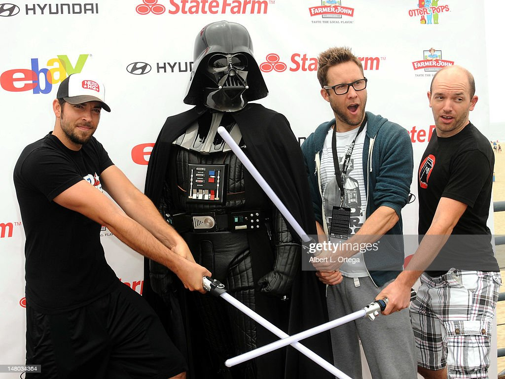 Actor Zachary Levi, actor Michael Rosenbaum and actor Paul Scheer participate in The Inaugural 'Course Of The Force' Olympic Relay Run with lightsabers to Benefit The Make-A-Wish Foundation hosted by LucasFilm, Nerdist Industries and Octagon held at The Santa Monica Pier on July 7, 2012 in Santa Monica, California.