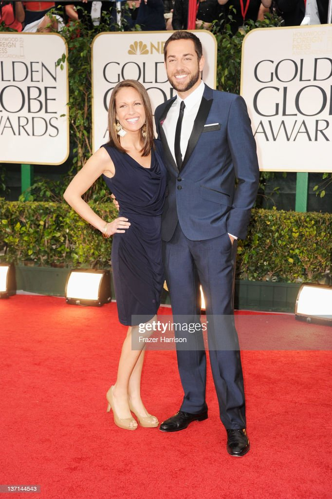 Actor <a gi-track='captionPersonalityLinkClicked' href=/galleries/search?phrase=Zachary+Levi&family=editorial&specificpeople=242766 ng-click='$event.stopPropagation()'>Zachary Levi</a> and guest arrive at the 69th Annual Golden Globe Awards held at the Beverly Hilton Hotel on January 15, 2012 in Beverly Hills, California.