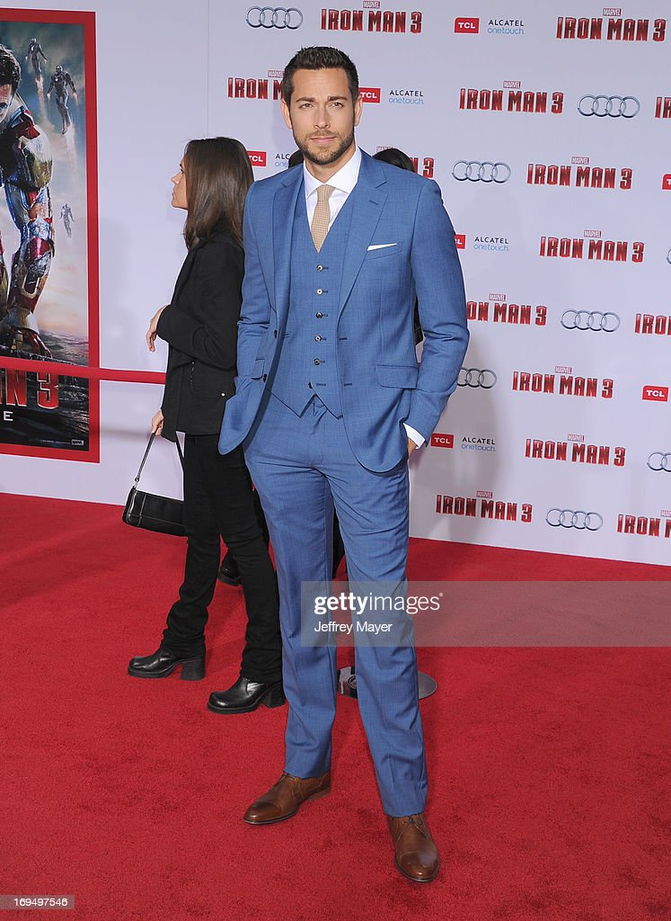 Actor <a gi-track='captionPersonalityLinkClicked' href=/galleries/search?phrase=Zachary+Levi&family=editorial&specificpeople=242766 ng-click='$event.stopPropagation()'>Zachary Levi</a> arrives at the Los Angeles Premiere of 'Iron Man 3' at the El Capitan Theatre on April 24, 2013 in Hollywood, California.