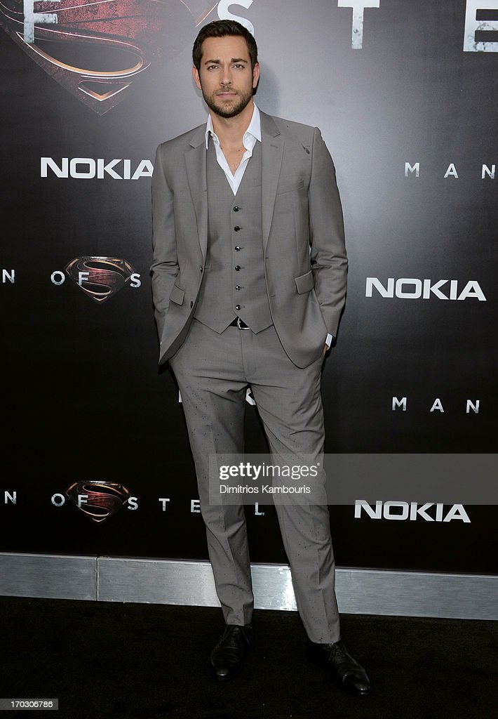 Actor <a gi-track='captionPersonalityLinkClicked' href=/galleries/search?phrase=Zachary+Levi&family=editorial&specificpeople=242766 ng-click='$event.stopPropagation()'>Zachary Levi</a> attends the 'Man Of Steel' world premiere at Alice Tully Hall at Lincoln Center on June 10, 2013 in New York City.