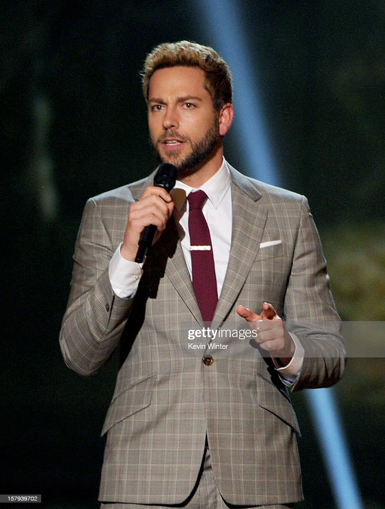 Actor <a gi-track='captionPersonalityLinkClicked' href=/galleries/search?phrase=Zachary+Levi&family=editorial&specificpeople=242766 ng-click='$event.stopPropagation()'>Zachary Levi</a> onstage during Spike TV's 10th annual Video Game Awards at Sony Studios on December 7, 2012 in Culver City, California.