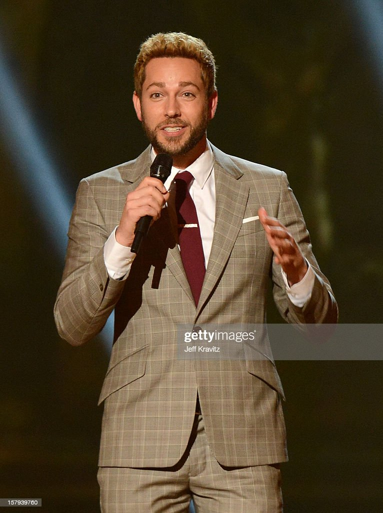 Actor <a gi-track='captionPersonalityLinkClicked' href=/galleries/search?phrase=Zachary+Levi&family=editorial&specificpeople=242766 ng-click='$event.stopPropagation()'>Zachary Levi</a> onstage during Spike TV's 10th annual Video Game Awards at Sony Pictures Studios on December 7, 2012 in Culver City, California.