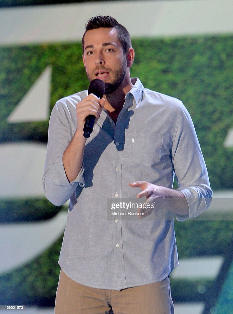 Actor <a gi-track='captionPersonalityLinkClicked' href=/galleries/search?phrase=Zachary+Levi&family=editorial&specificpeople=242766 ng-click='$event.stopPropagation()'>Zachary Levi</a> speaks onstage during Cartoon Network's fourth annual Hall of Game Awards at Barker Hangar on February 15, 2014 in Santa Monica, California.