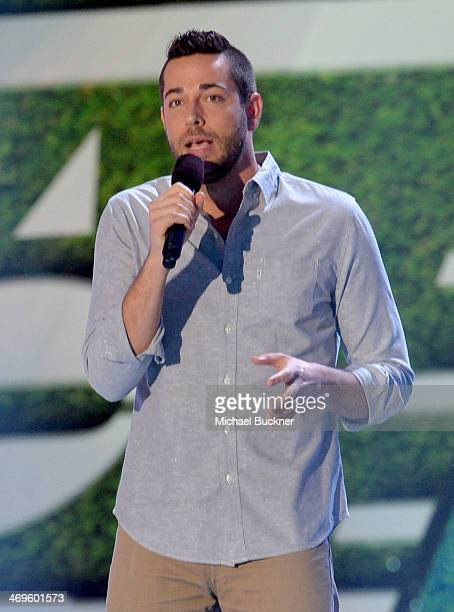 Actor Zachary Levi speaks onstage during Cartoon Network's fourth annual Hall of Game Awards at Barker Hangar on February 15 2014 in Santa Monica...