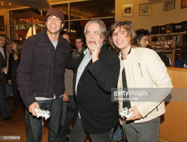 **EXCLUSIVE** Actor Zachary Levi 'The Simpsons' creator Matt Groening and musician Zac Hanson at 'The Simpsons' game launch party presented by EA at...