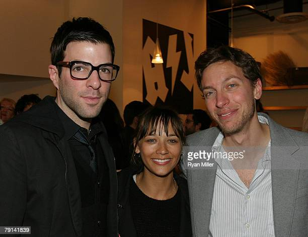 Actor Zachary Quinto actress Rashida Jones and composer and lyricist Michael Friedman pose during the opening night party for the World Premiere of...