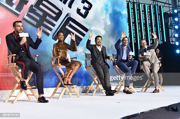 Actor Zachary Quinto Actress Zoe Saldan Director Justin Lin Actor Chris Pine and Actor Simon Peg attend the press conference of the Paramount...