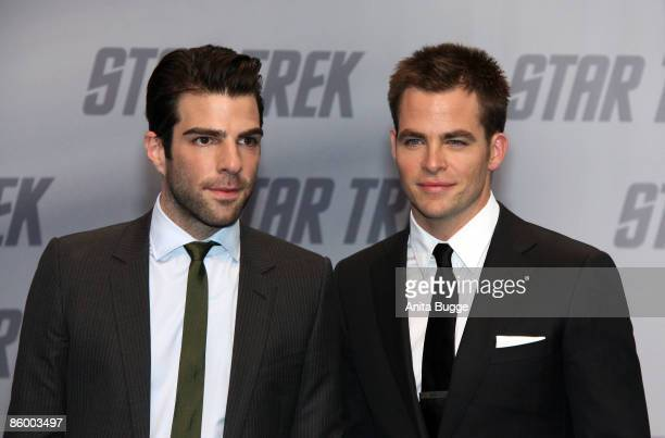 Actor Zachary Quinto and actor Chris Pine attend the 'Star Trek' Germany premiere on April 16 2009 in Berlin Germany