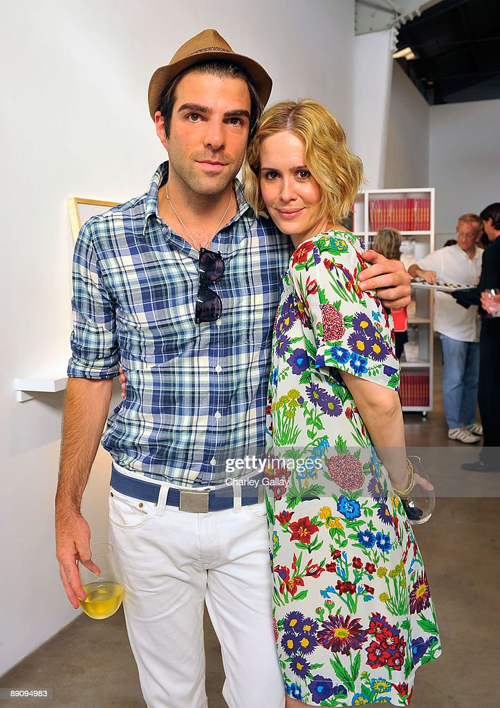 Actor Zachary Quinto and actress Sarah Paulson attend the reception of 'Jessica Lange: 50 Photographs 1992-2008' at The Rose Gallery on July 18, 2009 in Santa Monica, California.
