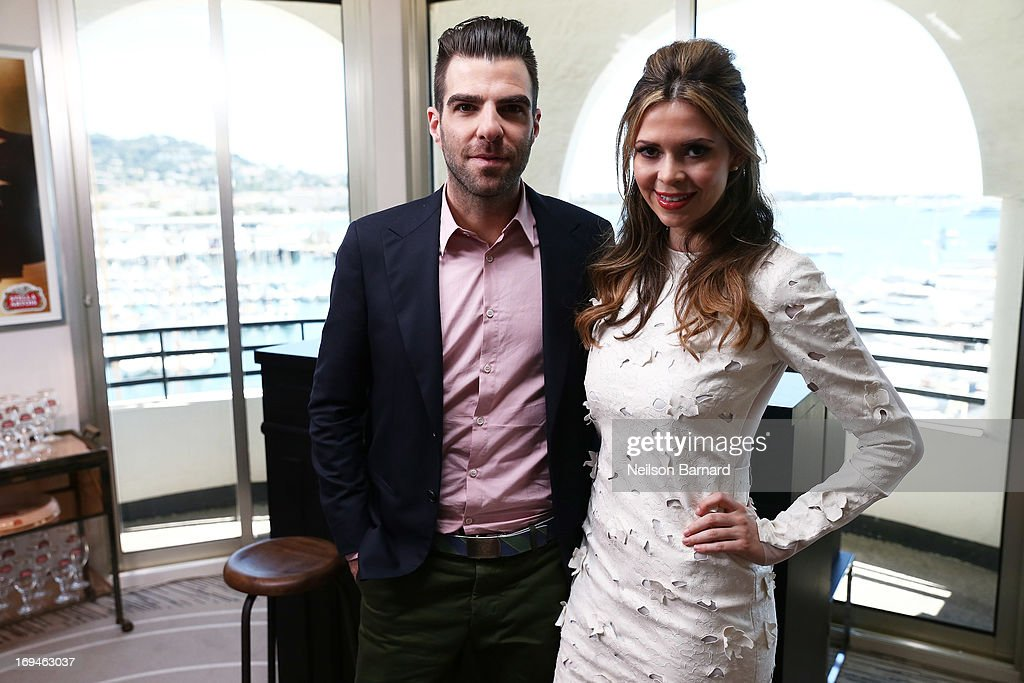 Actor <a gi-track='captionPersonalityLinkClicked' href=/galleries/search?phrase=Zachary+Quinto&family=editorial&specificpeople=715956 ng-click='$event.stopPropagation()'>Zachary Quinto</a> and <a gi-track='captionPersonalityLinkClicked' href=/galleries/search?phrase=Carly+Steel&family=editorial&specificpeople=3963749 ng-click='$event.stopPropagation()'>Carly Steel</a> visit The Stella Artois Suite during The 66th Annual Cannes Film Festival at Radisson Blu on May 23, 2013 in Cannes, France.