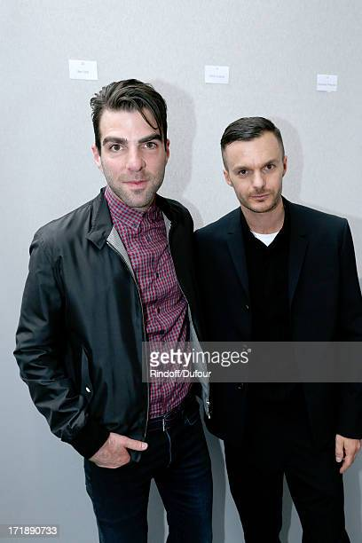 Actor Zachary Quinto and Fashion designer Kris Van Assche backstage after Dior Homme Menswear Spring/Summer 2014 Show as part of the Paris Fashion...