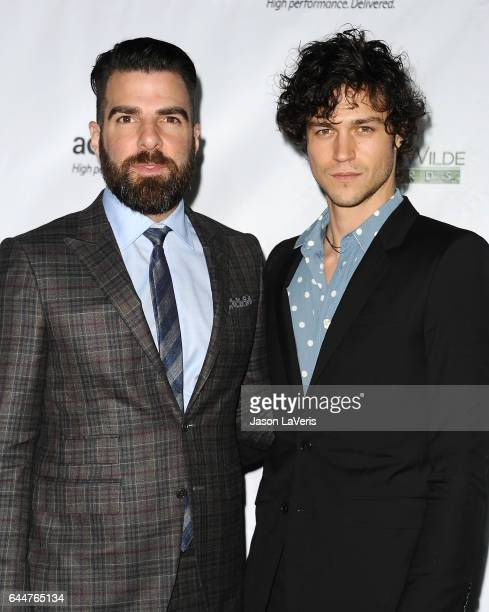 Actor Zachary Quinto and Miles McMillan attend the 12th annual Oscar Wilde Awards at Bad Robot on February 23 2017 in Santa Monica California