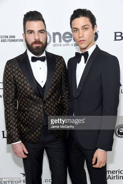 Actor Zachary Quinto and Miles McMillan attends the 25th Annual Elton John AIDS Foundation's Academy Awards Viewing Party at The City of West...
