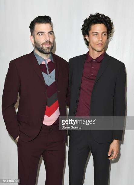 Actor Zachary Quinto and model Miles McMillan at Bottega Veneta Hosts Hammer Museum Gala In The Garden on October 14 2017 in Westwood California