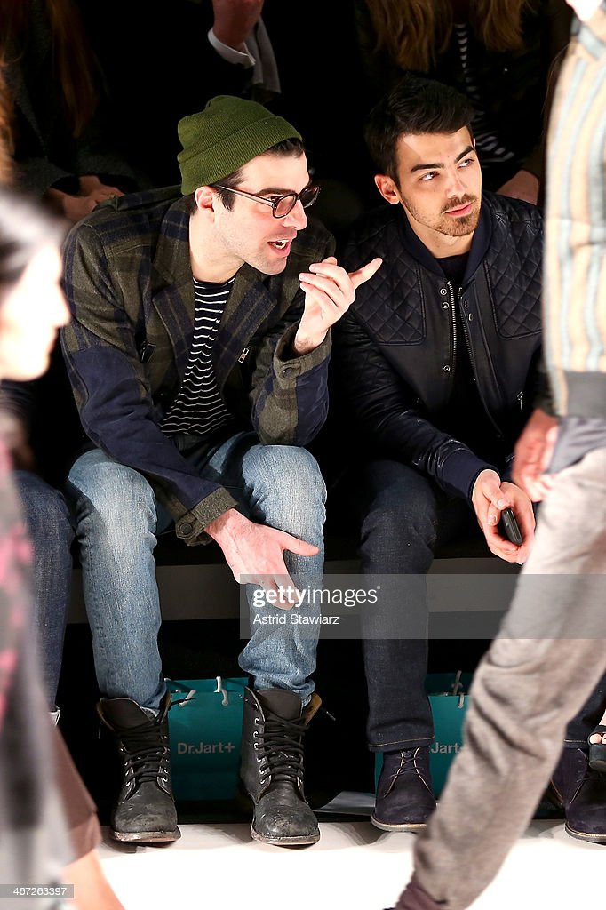 Actor <a gi-track='captionPersonalityLinkClicked' href=/galleries/search?phrase=Zachary+Quinto&family=editorial&specificpeople=715956 ng-click='$event.stopPropagation()'>Zachary Quinto</a> (L) and musician <a gi-track='captionPersonalityLinkClicked' href=/galleries/search?phrase=Joe+Jonas&family=editorial&specificpeople=842712 ng-click='$event.stopPropagation()'>Joe Jonas</a> attend Richard Chai fashion show during Mercedes-Benz Fashion Week Fall 2014 at The Salon at Lincoln Center on February 6, 2014 in New York City.
