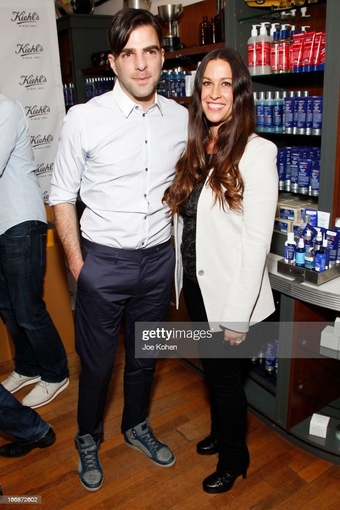Actor <a gi-track='captionPersonalityLinkClicked' href=/galleries/search?phrase=Zachary+Quinto&family=editorial&specificpeople=715956 ng-click='$event.stopPropagation()'>Zachary Quinto</a> and singer <a gi-track='captionPersonalityLinkClicked' href=/galleries/search?phrase=Alanis+Morissette&family=editorial&specificpeople=171150 ng-click='$event.stopPropagation()'>Alanis Morissette</a> attend Kiehl's launches environmental partnership benefiting recycle across America at Kiehl's Since 1851 Santa Monica Store on April 17, 2013 in Santa Monica, California.