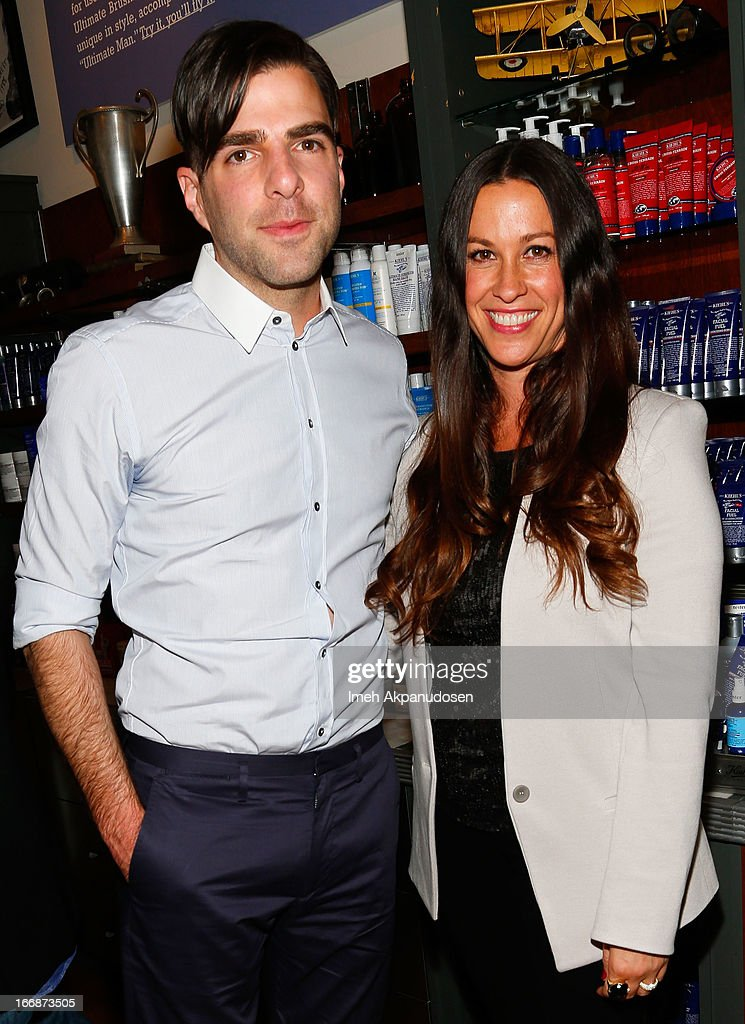 Actor <a gi-track='captionPersonalityLinkClicked' href=/galleries/search?phrase=Zachary+Quinto&family=editorial&specificpeople=715956 ng-click='$event.stopPropagation()'>Zachary Quinto</a> (L) and singer/songwriter <a gi-track='captionPersonalityLinkClicked' href=/galleries/search?phrase=Alanis+Morissette&family=editorial&specificpeople=171150 ng-click='$event.stopPropagation()'>Alanis Morissette</a> attend Kiehl's launch of an Environmental Partnership Benefiting Recycle Across America at Kiehl's Since 1851 Santa Monica Store on April 17, 2013 in Santa Monica, California.