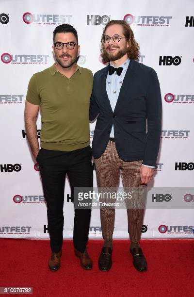 Actor Zachary Quinto and writer Bryan Fuller arrive at the 2017 Outfest Los Angeles LGBT Film Festival Opening Night Gala of 'God's Own Country' at...