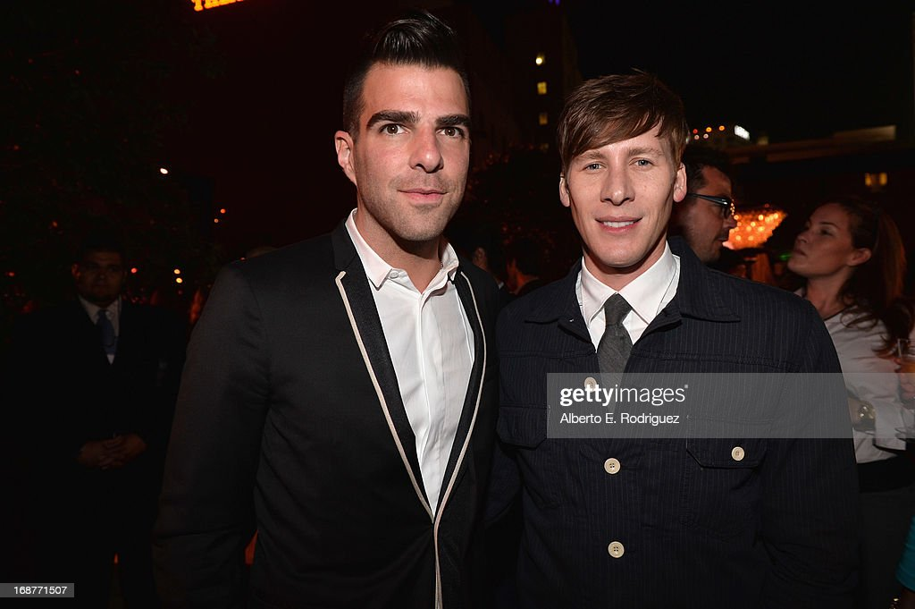 Actor <a gi-track='captionPersonalityLinkClicked' href=/galleries/search?phrase=Zachary+Quinto&family=editorial&specificpeople=715956 ng-click='$event.stopPropagation()'>Zachary Quinto</a> and writer <a gi-track='captionPersonalityLinkClicked' href=/galleries/search?phrase=Dustin+Lance+Black&family=editorial&specificpeople=5582627 ng-click='$event.stopPropagation()'>Dustin Lance Black</a> attend the after party for the premiere of Paramount Pictures' 'Star Trek Into Darkness' at AV Nightclub on May 14, 2013 in Hollywood, California.
