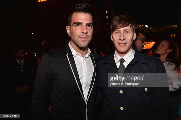 Actor Zachary Quinto and writer Dustin Lance Black attend the after party for the premiere of Paramount Pictures' 'Star Trek Into Darkness' at AV...