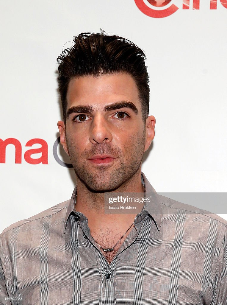 Actor <a gi-track='captionPersonalityLinkClicked' href=/galleries/search?phrase=Zachary+Quinto&family=editorial&specificpeople=715956 ng-click='$event.stopPropagation()'>Zachary Quinto</a> arrives at a Paramount Pictures presentation to promote his upcoming film, 'Star Trek Into Darkness' during CinemaCon at Caesars Palace on April 15, 2013 in Las Vegas, Nevada.