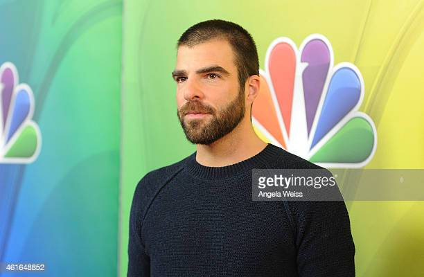 Actor Zachary Quinto arrives at NBCUniversal's 2015 Winter TCA Tour Day 2 at The Langham Huntington Hotel and Spa on January 16 2015 in Pasadena...