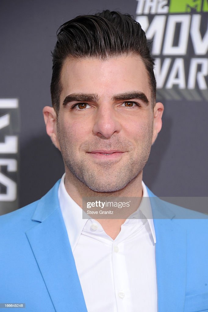 Actor <a gi-track='captionPersonalityLinkClicked' href=/galleries/search?phrase=Zachary+Quinto&family=editorial&specificpeople=715956 ng-click='$event.stopPropagation()'>Zachary Quinto</a> arrives at the 2013 MTV Movie Awards at Sony Pictures Studios on April 14, 2013 in Culver City, California.