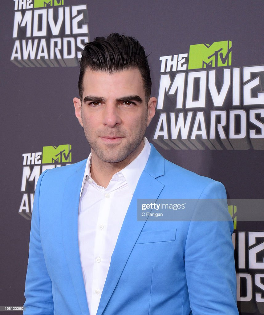 Actor Zachary Quinto arrives at the 2013 MTV Movie Awards at Sony Pictures Studios on April 14, 2013 in Culver City, California.