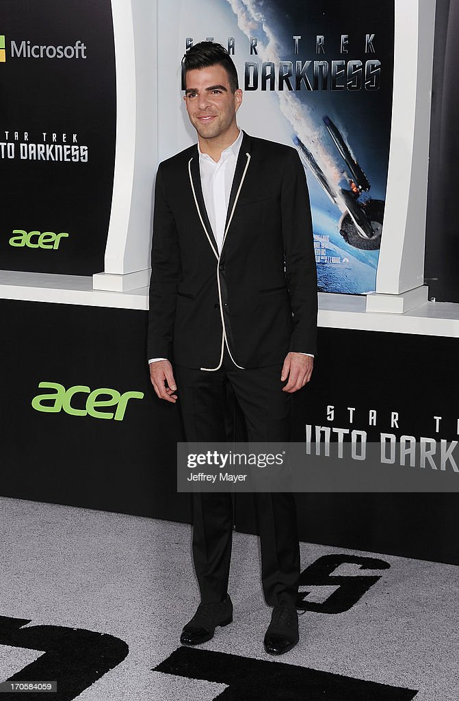 Actor <a gi-track='captionPersonalityLinkClicked' href=/galleries/search?phrase=Zachary+Quinto&family=editorial&specificpeople=715956 ng-click='$event.stopPropagation()'>Zachary Quinto</a> arrives at the Los Angeles premiere of 'Star Trek: Into Darkness' at Dolby Theatre on May 14, 2013 in Hollywood, California.
