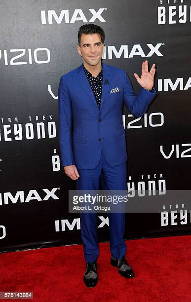 Actor Zachary Quinto arrives for the premiere of Paramount Pictures' 'Star Trek Beyond' held at Embarcadero Marina Park South on July 20 2016 in San...