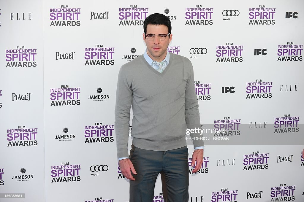 Actor Zachary Quinto arrives on the red carpet on February 25, 2012 for the Independent Spirit Awards in Santa Monica, California.